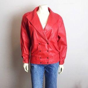 Vintage red leather jacket dolman sleeve 80s glam